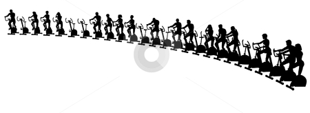 Exercise bikes stock vector clipart, Editable vector illustration of people using exercise bikes by Robert Adrian Hillman
