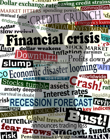 Financial crisis shadow stock vector clipart, Background editable vector design of economic headlines with man's shadow holding his head in despair by Robert Adrian Hillman