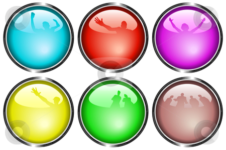 Glossy buttons stock vector clipart, Set of editable vector glossy web buttons with reflections of people by Robert Adrian Hillman