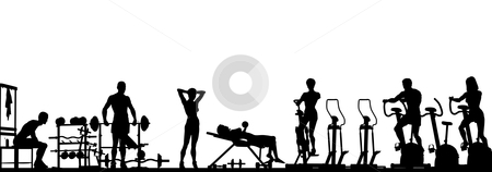 Gym foreground stock vector clipart, Editable vector foreground of a gym scene in silhouette with all elements as separate objects by Robert Adrian Hillman