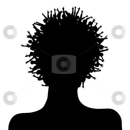 Happy head stock vector clipart, Editable vector silhouette of a woman with a crowd of people as hair by Robert Adrian Hillman