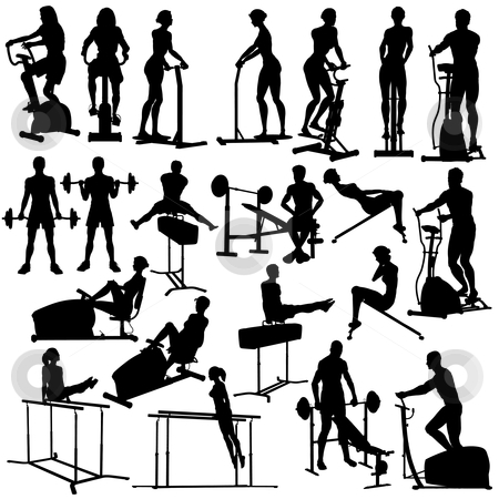 In the gym stock vector clipart, Set of silhouettes of people exercising in the gym with all figures and equipment as separate objects by Robert Adrian Hillman