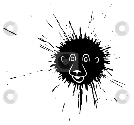 Lion face splatter stock vector clipart, Editable vector cartoon lion made from an ink splat by Robert Adrian Hillman