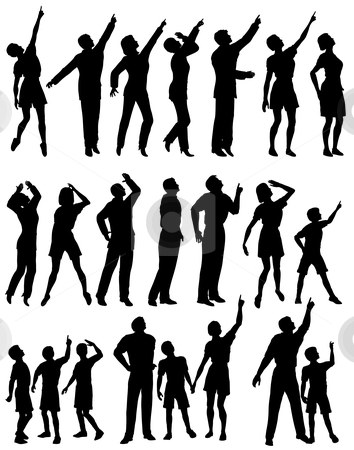 Looking up stock vector clipart, Set of editable vector silhouettes of people looking and pointing upwards by Robert Adrian Hillman
