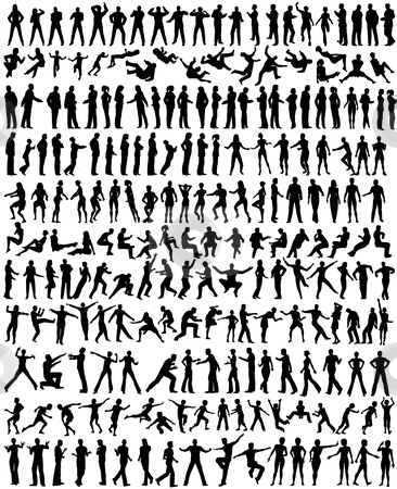People stock vector clipart, Over 200 detailed editable vector people silhouettes by Robert Adrian Hillman