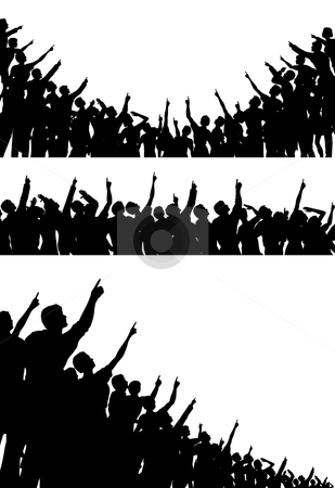 Pointing crowds stock vector clipart, Set of editable vector silhouettes of crowds pointing and looking upwards with all figures as separate objects by Robert Adrian Hillman