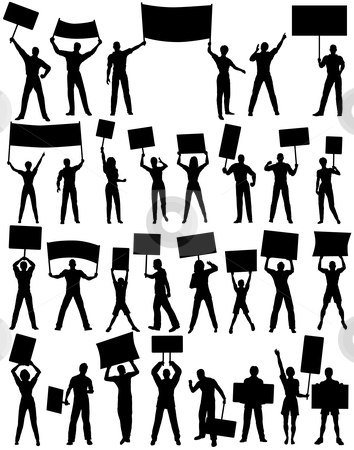 Protesters stock vector clipart, Set of editable vector silhouettes of protesters and banners with all elements as separate objects by Robert Adrian Hillman
