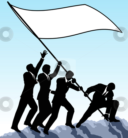 Raising the flag stock vector clipart, Editable vector illustration of businessmen raising a flag with all elements as separate objects by Robert Adrian Hillman