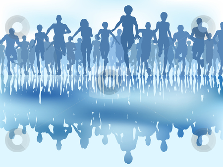 Reflected runners stock vector clipart, Editable vector illustration of a large group of people running with reflections by Robert Adrian Hillman