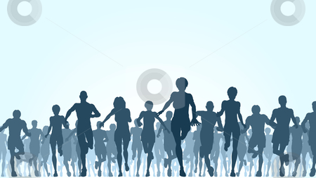 Running crowd stock vector clipart, Editable vector illustration of a large group of people running by Robert Adrian Hillman
