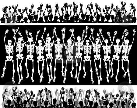 Skeleton crowd stock vector clipart, Groups of editable vector skeletons with each skeleton as a separate object by Robert Adrian Hillman