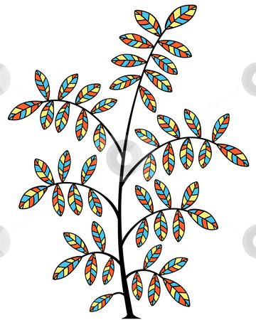 Stained glass tree stock vector clipart, Editable vector illustration of a small tree by Robert Adrian Hillman