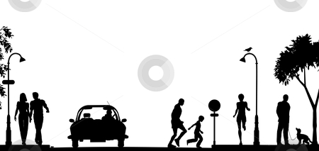 Street scene stock vector clipart, Editable vector silhouette of a busy street with all elements as separate objects by Robert Adrian Hillman