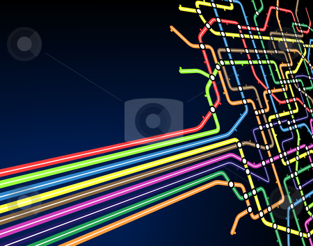 Subway slant stock vector clipart, Abstract editable vector background of a subway map by Robert Adrian Hillman