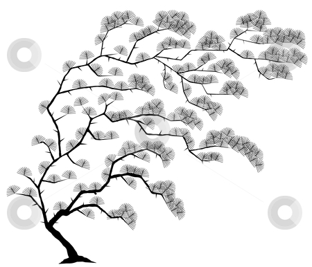 Tree stock vector clipart, Editable vector illustration of a windblown tree with leaves as separate objects by Robert Adrian Hillman