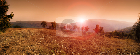 Sumadija stock photo, Panorama of sunset in Sumadija, central Serbia. by Ivan Paunovic