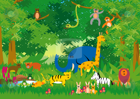 Cartoon Jungle Scene Jungle animals in cartoon