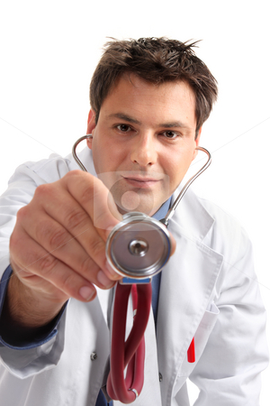 Medical examination checkup  - doctor with stethoscope stock photo, Doctor leaning over a patient with his stethoscope in hand to perform a checkup or medical examination. by Leah-Anne Thompson