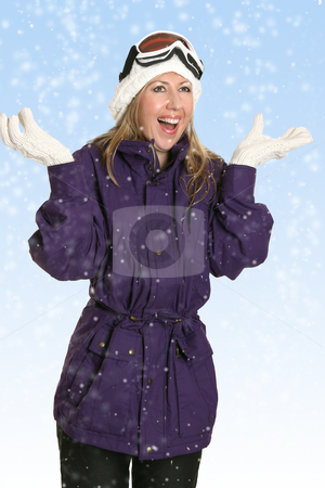 Joyous beautiful woman in snowfall stock photo, Happy woman enjoys the fresh snowfall by Leah-Anne Thompson