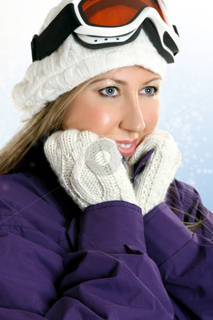 Pretty winter woman stock photo, Woman dressed in winter attire, coat, gloves and warm woolen hat against a snowy backdrop by Leah-Anne Thompson
