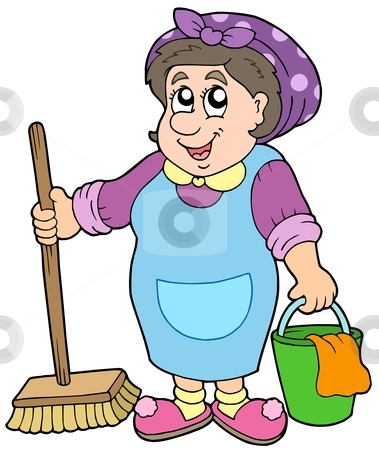Cartoon cleaning lady stock vector clipart cartoon cleaning lady