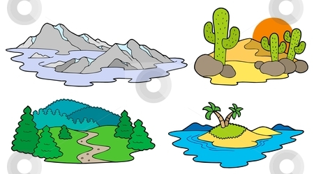 Various landscapes collection stock vector clipart, Various landscapes collection - vector illustration. by Klara Viskova