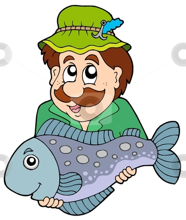 Fisherman holding big fish stock vector clipart, Fisherman holding big fish - vector illustration. by Klara Viskova