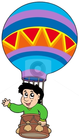 Boy in balloon stock vector clipart, Boy in balloon - vector illustration. by Klara Viskova