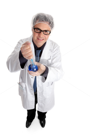Research Scientist stock photo, Research scientist or chemist holding a flask of solution and pipette sample for analysis. by Leah-Anne Thompson
