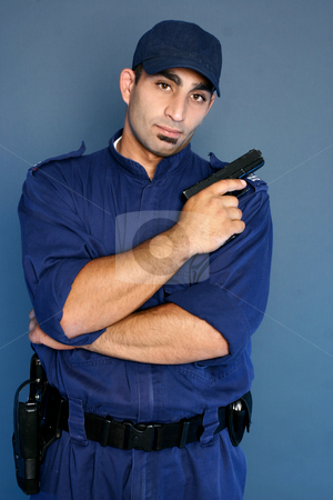 Security officer standing in uniform stock photo, Security staff in uniform. by Leah-Anne Thompson