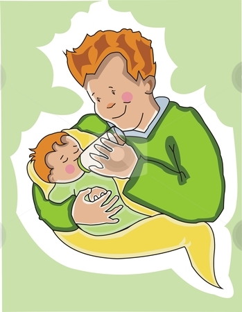 Father feeding his baby. stock vector clipart, Young father feeds his new baby. Made in layers .  Editable. by Claudia Sanchez