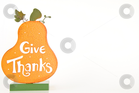 Give Thanks Frame stock photo, Give Thanks pumpkin on white background. by Tammy Abrego