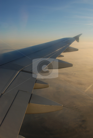 Airplane wing stock photo, Airplane wing of a public transportation airplane by Bonzami Emmanuelle
