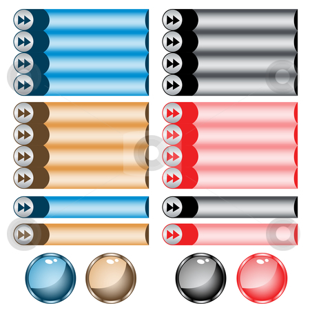 Web buttons assorted colors and shapes stock vector clipart, Web buttons assorted colors and shapes. Isolated on white. by toots77