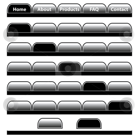 Web buttons navigation bars set. Isolated on white. stock vector clipart, Web buttons, black and gray navigation bars set with individual blank tabs. Isolated on white. by toots77