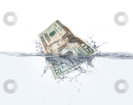 Money on water stock photo, Stock image of Twenty dollar bill splashing into water over white  background, very detailed splash by iodrakon