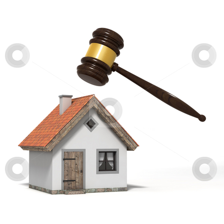 Gavel and house stock photo, Judge's gavel over a house, isolated on white background by Martin Ivask