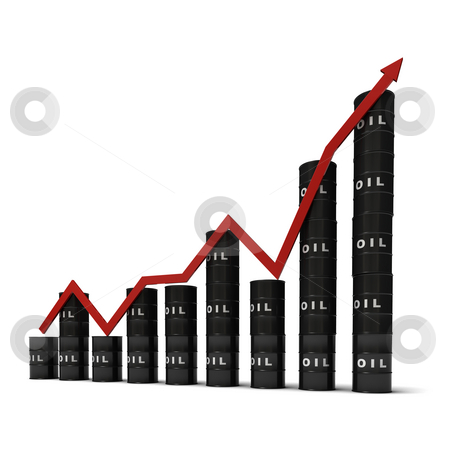 Oil barrels graph stock photo, Graph consisting of stacks of barrels illustrating the oil market, isolated on white background by Martin Ivask