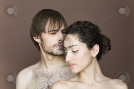 Young Couple stock photo, Young couple posing topless.  Horizontally framed shot. by Sean De Burca