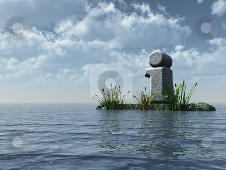 Info point stock photo, Stone letter i at the ocean under cloudy blue sky - 3d illustration by J?