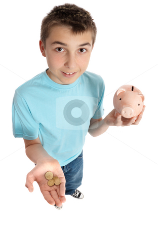 Boy holding coins for money box stock photo, A boy with coins in the palm of his hand and money box in the other. by Leah-Anne Thompson