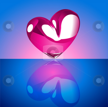 Heart on blue background stock photo,  by Rudolf Iskandar