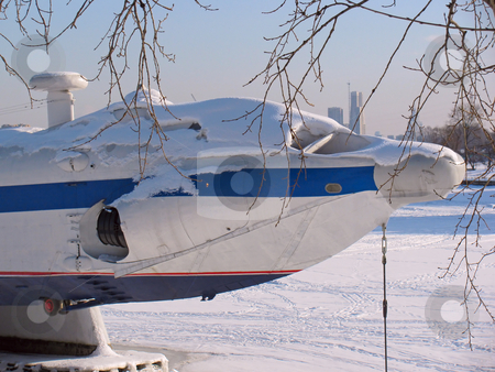 Seaplane stock photo, Seaplane in maritime museum. Frozen in ice by Olga Lipatova