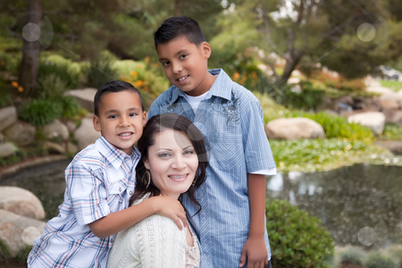 Happy Hispanic Mother and Sons stock photo, Happy Hispanic Mother and Sons in the Park. by Andy Dean