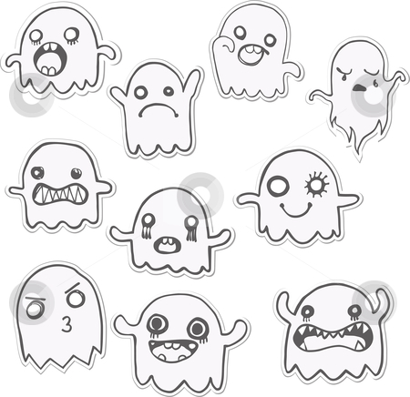 Set of 10 Cute Ghosts Stickers. Vector Image stock vector clipart, Set of 10 Cute Ghosts Stickers. Vector Image by AUGUSTO CABRAL