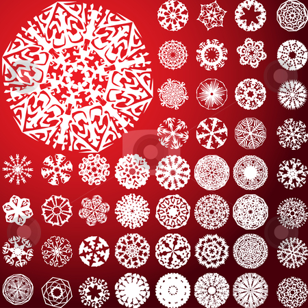 Set of 49 highly detailed complex snowflakes. stock vector clipart, Set of 49 highly detailed complex snowflakes. Vector Image by gubh83