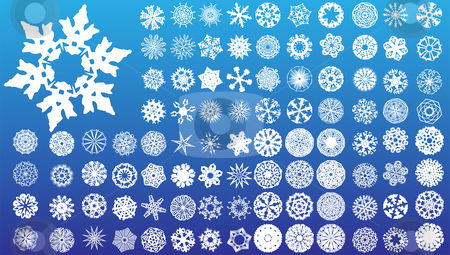 Set of 97 highly detailed complex snowflakes. stock vector clipart, Set of 97 highly detailed complex snowflakes. Vector Image by AUGUSTO CABRAL