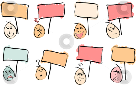 8 Doodle Faces with Signs stock vector clipart, 8 doodle vector faces with different expressions and sign boards. Vector Image by gubh83