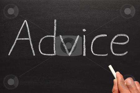 Writing advice on a blackboard. stock photo, Writing advice on a blackboard. by Stephen Rees