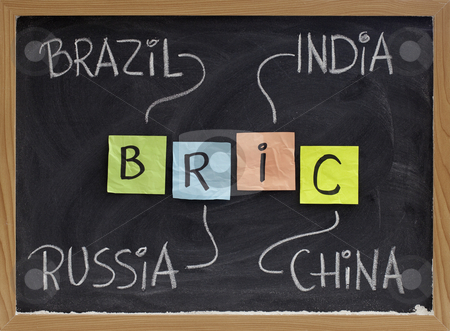 Brazil, Russia, India and China - BRIC stock photo, BRIC (Brazil, Russia, India, China) acronym - emerging markets or new economies, white chalk handwriting, colorful sticky notes on blackboard by Marek Uliasz